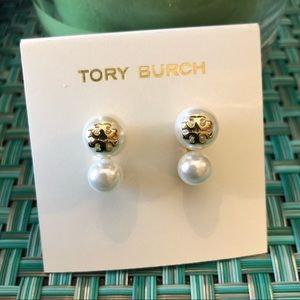 Tory Burch NWOT White Double Crystal Pearl Earring